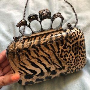 Handbags - Animal Print Clutch w/ Attached Brass Knuckles